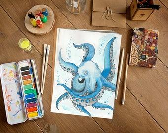 Octopus painting, original watercolor painting, illustration, home decor, gift, 9x12, watercolor octopus, sealife, nursery decor