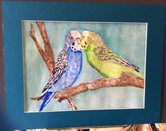 Original art, watercolor painting, parakeet love, 11 x 14 matted FREE SHIPPING In USA