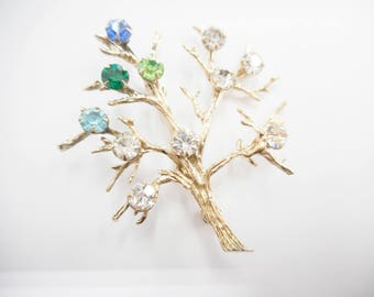 Tree Brooch, Sterling Brooch, Sterling Tree, Vintage Brooch, Vintage Sterling Silver Vermeil Cubic Zirconia Tree Brooch #2785