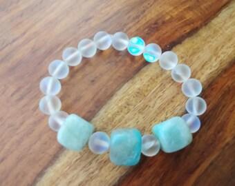 Moonlight crystal and chunky amazonite bracelet