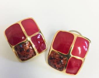 1970's Enamel and Gold Tone Geometric Post Earrings