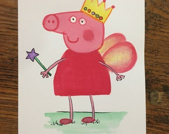 Hand Painted original Peppa Pig card