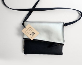 Schu-mee Clutch | Vegan Leather Clutch Bag | Modern Black and Silver Clutch Purse