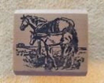 Horse Mare & Foal Rubber Stamp Wood Mounted