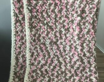 Baby Blanket-Pink/Grey/Vintage White Multi colour