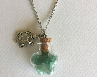 Turtle Charm and Green Adventurine Crystal Jar Necklace
