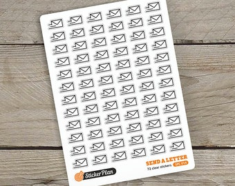 72 Send a LETTER stickers, clear stickers, planner stickers, transparent stickers, Happy Planner, Erin Condren, Filofax (SPC-014)