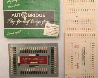 Vintage Board Game Autobridge Play Yourself Bridge No PGA Advanced Set 1950's