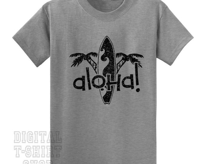Aloha Palm Trees and Surfboard T-Shirt - Hawaiian Vacation Tee