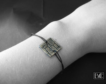 Cord bracelet black Medallion ormolu wall effect