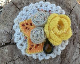 "Textile brooch, flower brooch, brooch boho, crochet bouquet, crochet flower brooch, crochet flowers, crochet jewelry, ""Autumn rose"""