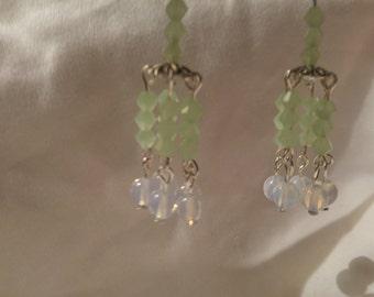 Handmade Silver Plated Fish Hook Mint Green Glass Opalite Chandelier Earrings