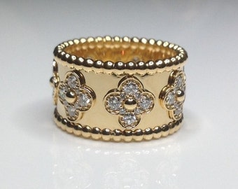 18k Yellow Gold 0.90 CTW Diamond Flower Floral Motifs Band Ring 12 Grams Size 7
