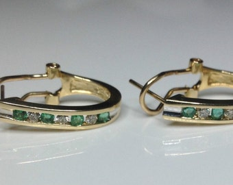 "Estate 14K Yellow Gold 0.37 CTW Diamond & Emerald 0.80"" Hoop Earrings 4.5 Grams"
