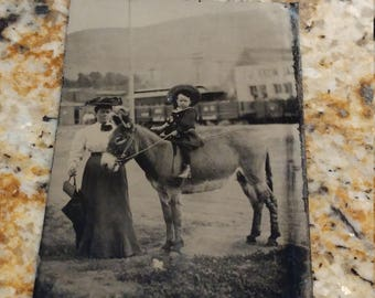 Mother , Child, and Donkey: Antique Tintype Outdoor Photograph