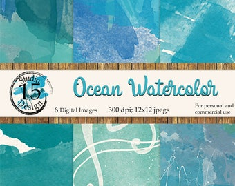 Ocean Watercolor Digital Papers-6 Backgrounds-Blue-Greens-Printable Scrapbook Papers-Watercolor Texture-Free Commercial Use