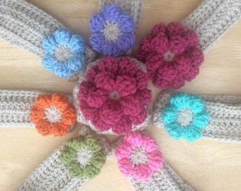 Flower Headband, crochet headband, childrens flower headband, adult flower headband, chunky flower headband, vegan headband, adult headband,