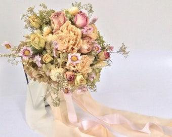 Brides Bouquet, Ballet Pink Bouquet, Dry flower, Wedding Flowers.