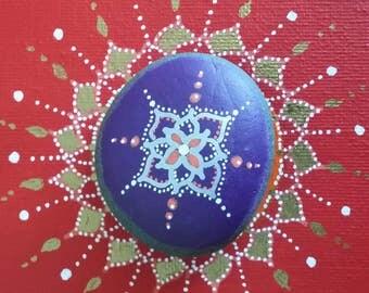 Mandala Painted Sea Stone/Third Eye/Chakra/Meditation Aid/Reiki