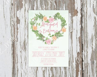 Floral Wedding Invitation, Printable Wedding Invitation, Wedding Invite, Party Invite, Custom Invitations, Floral Invitation, Printable