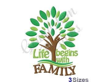 Family Tree - Life Begins With Family - Machine Embroidery Design