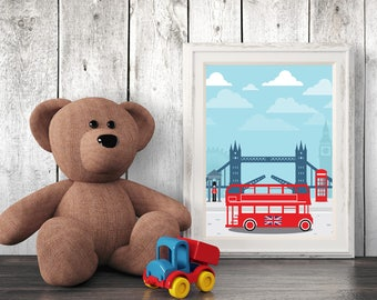 Architecture Nursery Print, London, Wall Art, Kids Art, Nursery Decor, Printables