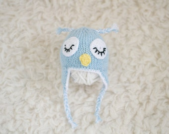 Newborn Knitted Owl Hat Baby Blue with earflaps