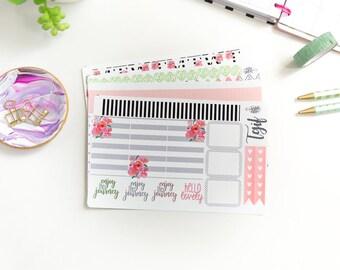 Pink Blooms Happy Planner Weekly Kit