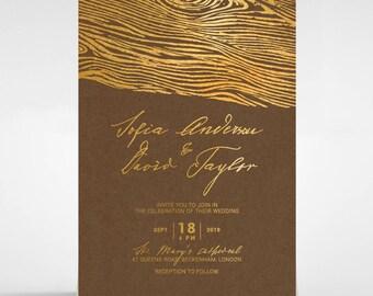 Wood Print Foil Wedding Invitation - IWF16093-EC-GG