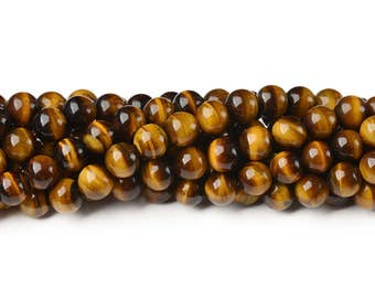 8 mm tiger eye beads smooth bead natural tiger's eye semi precious beads yellow tiger eye loose beads loose gemstone beads genuine tiger eye