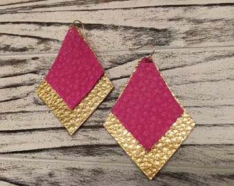 Gold and Hot Pink earrings