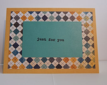 Just for You Card, Blue and Gold