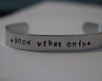 Good Vibes Only Hand-Stamped Bracelet