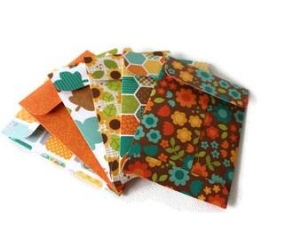 Gift card envelopes, Mother's Day Gift card holders, Autumn / Fall Gift Card Holders, coin envelopes, money envelopes, set of 6