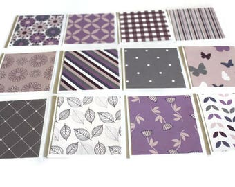 Shades of Purple Mini Cards, Thank you Cards, Note cards, Gift Tags, Lunch Box Notes, 3x3 inch cards, Note Card Set, Set of 12