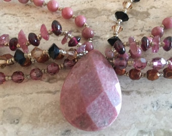 Gorgeous Stone and Beaded Multistrand Necklace; stone, beaded jewelry, bead necklace, mauve necklace, pink purple jewelry, beads, summer