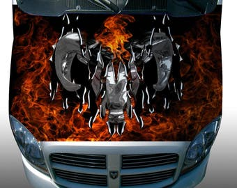 Dodge ram flame fire Hood Wrap Wraps Sticker Vinyl Decal Graphic