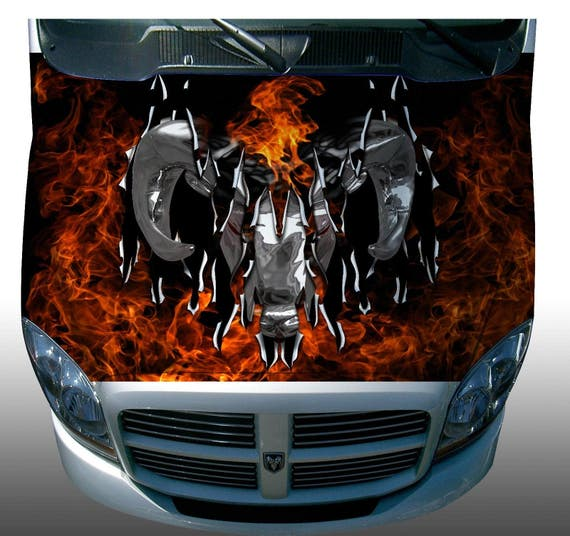 Dodge Ram Flame Fire Hood Wrap Wraps Sticker Vinyl Decal