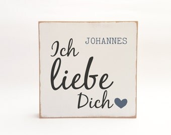 "PERSONALIZED wooden picture ""I love you"""