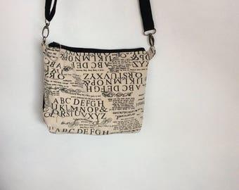 Handmade Black and cream print canvas shoulder bag