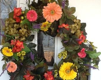 Vibrant Floral Wreath, Floral Front Door Wreath, Spring Wreath, Summer Wreath, Silk Floral Wreath, Grapevine  Wreath, Door Decor, Grapevine