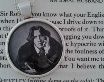 Oscar Wilde Glass Pendant on Silver Chain