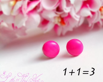 Hot Pink stud earrings Minimalist geometric earrings small stud earrings Cute little earrings Round Studs Girls Jewelry Kids Earrings