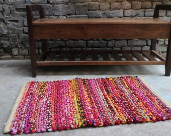 Handwoven Rag Rug, Chindi Rug, Dhurrie Rug, Rug-Mat, Traditional Rajasthani, 2x3 Rug, Indian, Handmade, Small Rug, Custom Rug, FREE SHIPPING