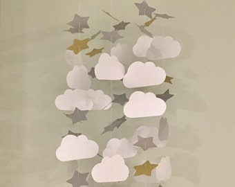 Cloud, silver & Gold Star themed hanging infant nursery mobile