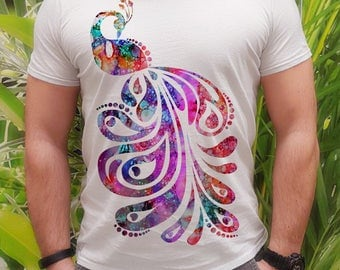Peacock t-shirt - Amazing tee - Fashion men's apparel - Colorful printed tee - Gift Idea