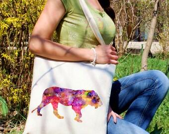 Female lion tote bag -  Lion shoulder bag - Fashion canvas bag - Colorful printed market bag - Gift Idea