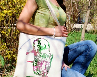 Cougar tote bag -  Cougar shoulder bag - Fashion canvas bag - Colorful printed market bag - Gift Idea