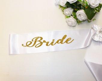 Bachelorette Sash - Bachelorette party - Wedding Sash - Bride Sash - Gold Glitter Sash - Bridesmaid - Weddings - Bachelorette party