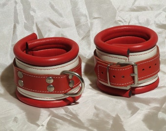 Leather ankle cuffs, genuine leather, soft padded with lamb nappa leather, white red